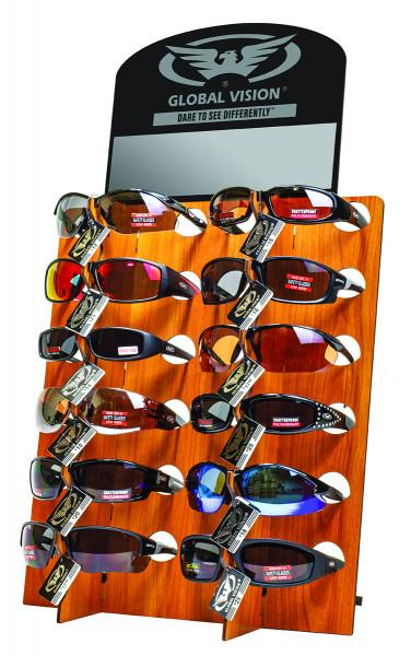 Display für 12 Brillen - black+wood